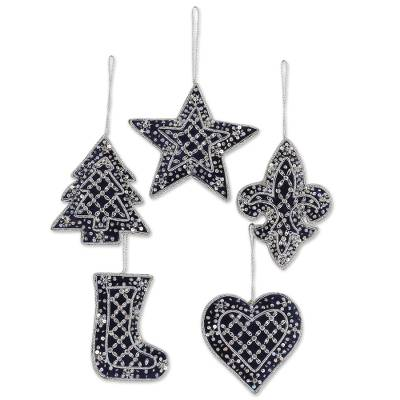 Beaded Christmas Ornaments.Set Of Five Beaded Christmas Ornaments By Indian Artisans Navy Christmas