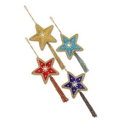 Beaded ornaments, 'Glistening Stars' (set of 4) - 4 Star Shaped Multicolored Embroidered Ornaments from India