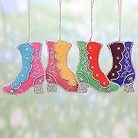 Beaded ornaments, 'Colorful Boots' (set of 4) - Set of Four Beaded Embroidered Boot Ornaments from India