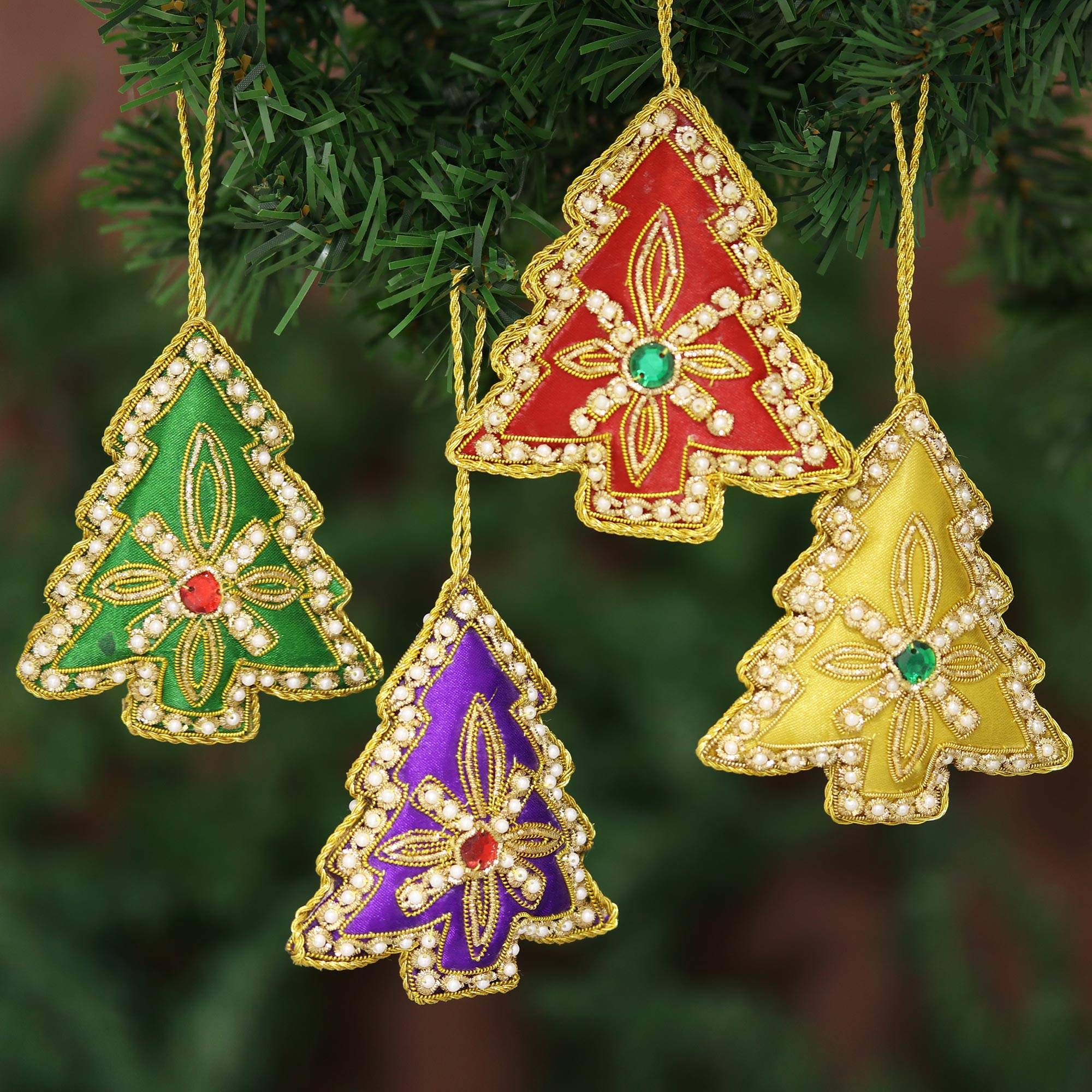 Set Of Four Multicolored Christmas Tree Ornaments From India Colorful Trees