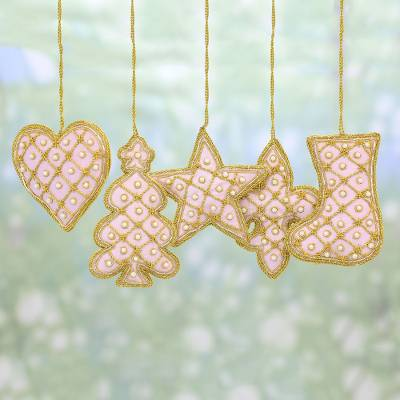 gold embroidered heart ornament