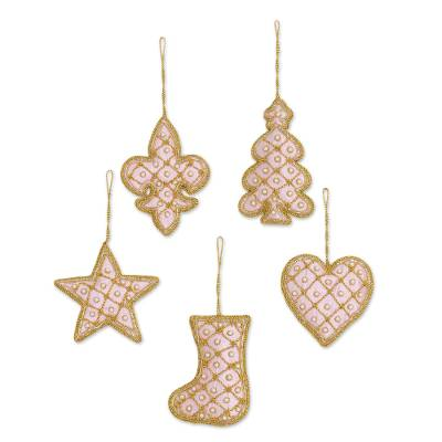beaded ornaments golden rose holiday set of 5 set of - Embroidered Christmas Ornaments