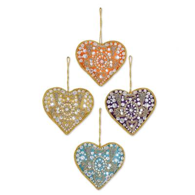 Beaded ornaments, 'Colorful Hearts' (set of 4) - 4 Heart Shaped Multicolored Embroidered Ornaments from India