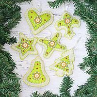 Beaded ornaments, 'Christmas Party in Citron' (set of 6) - Set of Six Beaded Christmas Ornaments in Citron and White