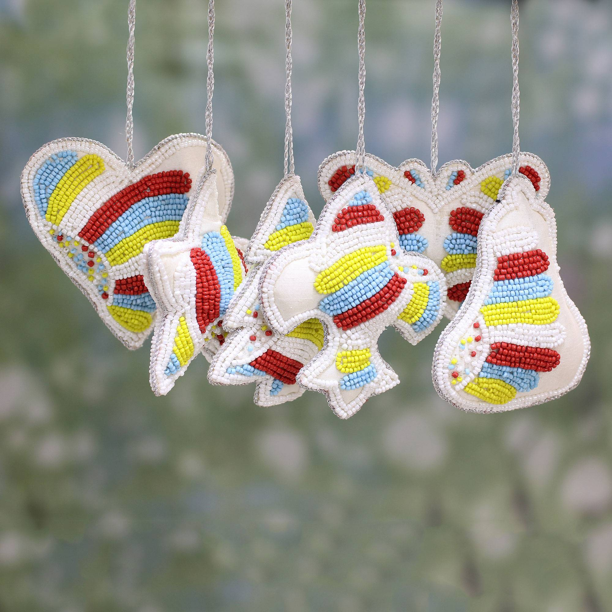 Beaded Christmas Ornaments.Set Of Six Indian Multicolored Beaded Christmas Ornaments Multicolored Christmas Party