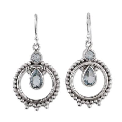 Blue Topaz and Sterling Silver Dangle Earrings from India