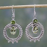 Peridot and lemon quartz dangle earrings, 'Regal Circles' - Hand Crafted Peridot and Quartz Dangle Earrings from India