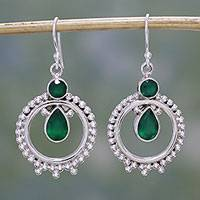 Onyx dangle earrings, 'Regal Circles' - Green Onyx and Sterling Silver Dangle Earrings from India