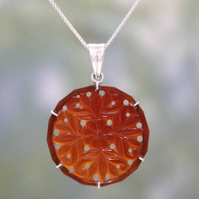 Handcrafted floral carnelian pendant necklace from india floral carnelian pendant necklace floral dots handcrafted floral carnelian pendant necklace from india aloadofball Choice Image