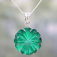 Onyx pendant necklace, 'Green Petals' - Green Onyx and Silver Floral Pendant Necklace from India