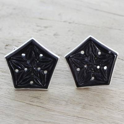 Onyx cufflinks, 'Pentagon Blossoms' - Onyx and Sterling Silver Floral Cufflinks from India