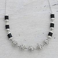 Onyx link necklace, 'Jali Globes' - Black Onyx and Sterling Silver Link Necklace from India