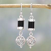 Onyx dangle earrings, 'Jali Globes' - Onyx and Sterling Silver Dangle Earrings from India