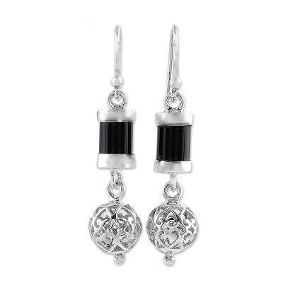 Onyx and Sterling Silver Dangle Earrings from India