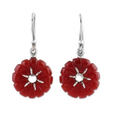 Carnelian and Sterling Silver Indian Floral Dangle Earrings