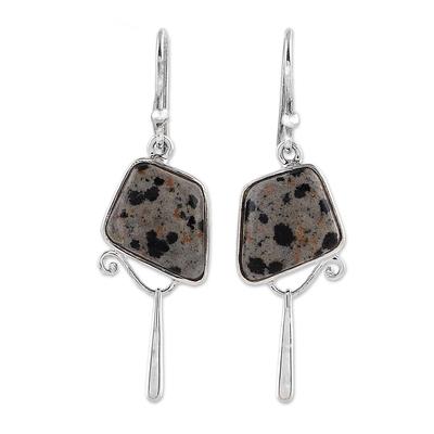 India Dalmatian Jasper and Sterling Silver Dangle Earrings