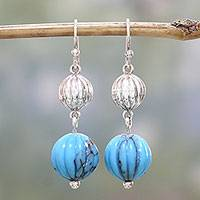 Sterling silver dangle earrings, 'Alluring Globes' - Hand Crafted Sterling Silver Dangle Earrings from India