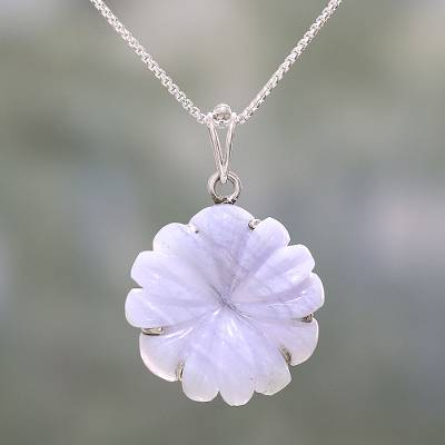 Agate pendant necklace, 'Frosty Flower' - Agate and Sterling Silver Floral Pendant Necklace from India