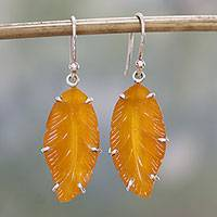 Quartz dangle earrings, 'Glowing Leaves' - Quartz and Sterling Silver Leaf Dangle Earrings from India