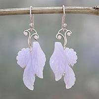 Agate dangle earrings, 'Blue Lace Leaves' - Blue Lace Agate and Sterling Silver Leaf Earrings from India