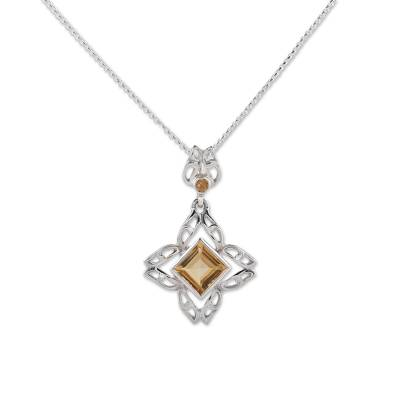 Citrine and Sterling Silver Pendant Necklace from India