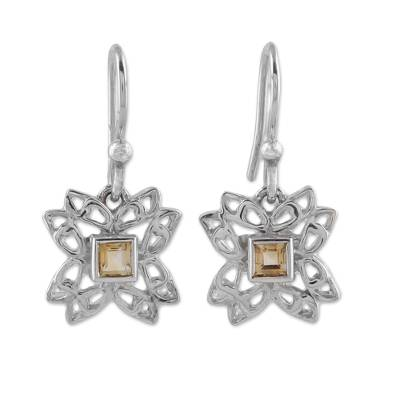 Citrine and Sterling Silver Dangle Earrings from India