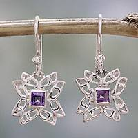 Amethyst dangle earrings, 'Jali Charm' - Amethyst and Sterling Silver Dangle Earrings from India