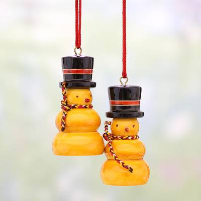 Pair Of Handcrafted Wood Snowman Ornaments From India Orange Snowmen