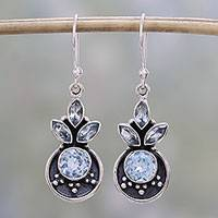 Blue topaz dangle earrings, 'Refreshing Fruits' - Blue Topaz and Sterling Silver Dangle Earrings from India