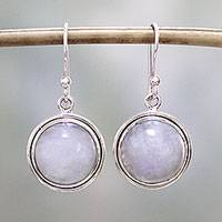Rainbow moonstone dangle earrings, 'Alluring Mist' - Rainbow Moonstone Dangle Earrings by Indian Artisans