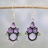 Multi-gemstone dangle earrings, 'Colorful Bunch' - Multi-Gem Amethyst Rainbow Moonstone and Peridot Earrings