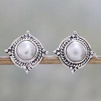 Cultured pearl button earrings, 'Morning Crowns' - Cultured Pearl and Sterling Silver Earrings from India