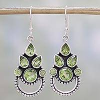 Peridot dangle earrings, 'Radiant Green' - Sterling Silver and Peridot Bollywood Glam Earrings