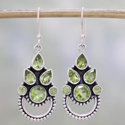 Peridot dangle earrings, Radiant Green