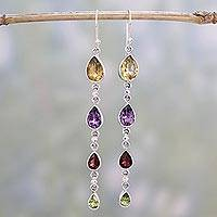 Featured review for Multi-gemstone dangle earrings, Dazzling Drops