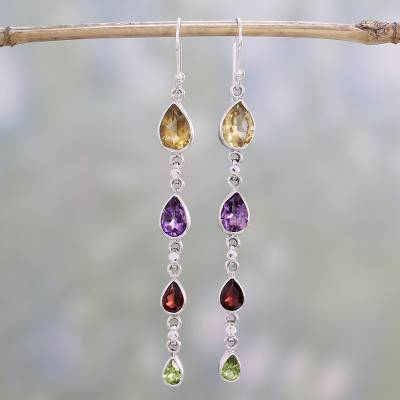 Multi-gemstone dangle earrings, 'Dazzling Drops' - Multi-Gem Citrine Amethyst Garnet and Peridot Earrings