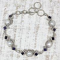 Iolite and cultured pearl link bracelet, 'Blue Palace' - Iolite and Cultured Pearl Link Bracelet from India