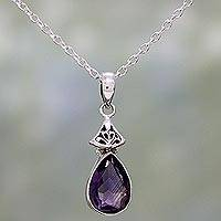 Amethyst pendant necklace, 'Lavender Drop' - Faceted Amethyst and Sterling Silver Necklace from India