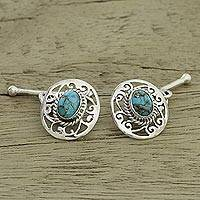Sterling silver cufflinks, 'Calming Sky' - Sterling Silver and Composite Turquoise Cufflinks from India