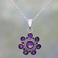 Amethyst pendant necklace, 'Morning Glitter in Purple' - Amethyst and Sterling Silver Pendant Necklace from India