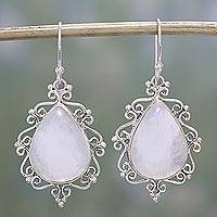 Rainbow moonstone dangle earrings, 'Spiral Drops' - Rainbow Moonstone and Sterling Silver Earrings from India