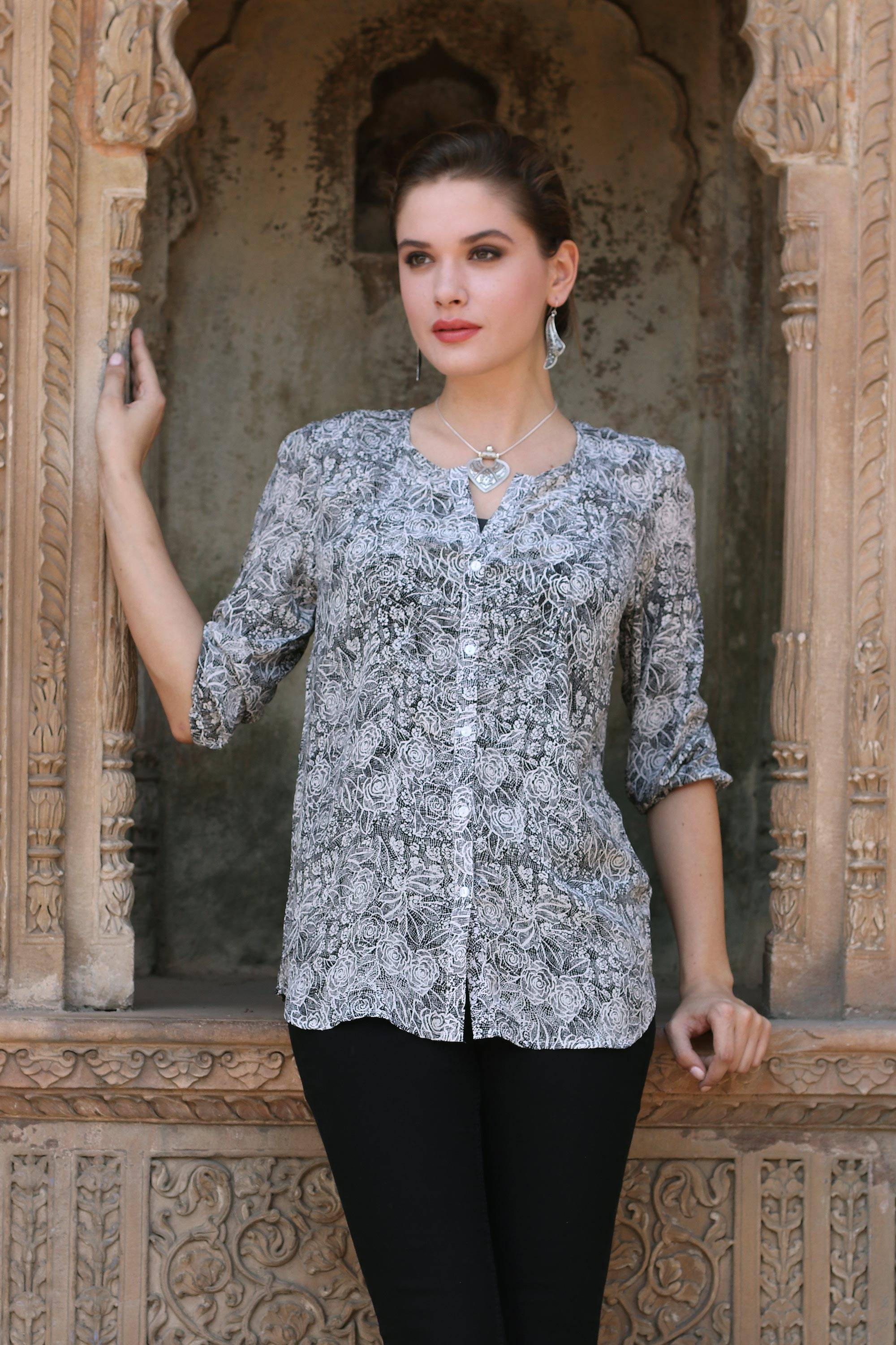 e1d125e94 Handmade Silk Button-Up Blouse with Floral Motif from India,