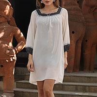Silk shift dress, 'Fresh Vanilla' - All Silk Shift Dress in Vanilla with Graphite Trim