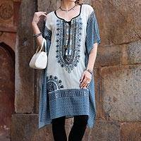 Chiffon caftan, 'Greek Goddess' - Handmade Ivory and Grey Embroidered Caftan from India