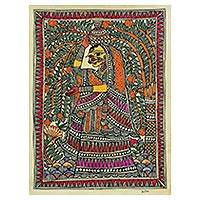Madhubani painting, 'Village Woman' - Signed Madhubani Folk Painting of a Woman from India