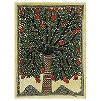 Madhubani painting, 'Tree of Substance' - Signed Tree Madhubani Folk Painting by an Indian Artist