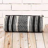 Cotton cosmetic case, 'Scintillating Desire' - Black and White Hand Woven Cotton Cosmetic Case from India