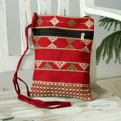 Hand woven cotton passport bag, 'Kaleidoscope Traveler' - Deep Red Olive and Yellow Hand Woven Passport Bag from India