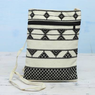 Hand woven cotton passport bag, 'Kaleidoscope Traveler in Ivory' - Light Beige and Black Hand Woven Passport Bag from India