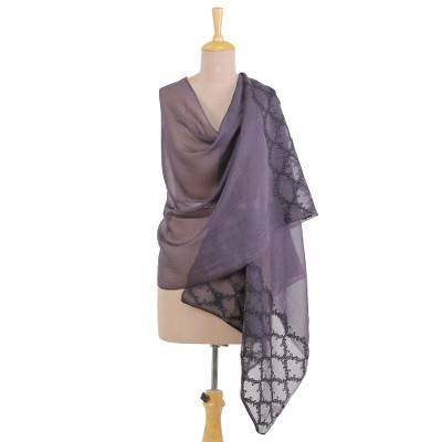 Cotton and silk blend shawl, 'Slate Midnight' - Embroidered Cotton and Silk Blend Indian Shawl in Slate